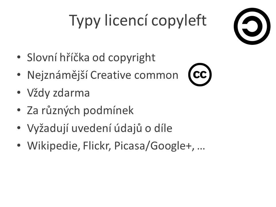 Typy licencí copyleft Slovní hříčka od copyright Nejznámější Creative common Vždy zdarma Za různých podmínek Vyžadují uvedení údajů o díle Wikipedie, Flickr, Picasa/Google+, …