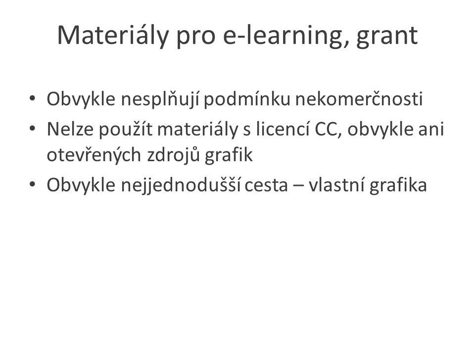 Materiály pro e-learning, grant Obvykle nesplňují podmínku nekomerčnosti Nelze použít materiály s licencí CC, obvykle ani otevřených zdrojů grafik Obvykle nejjednodušší cesta – vlastní grafika