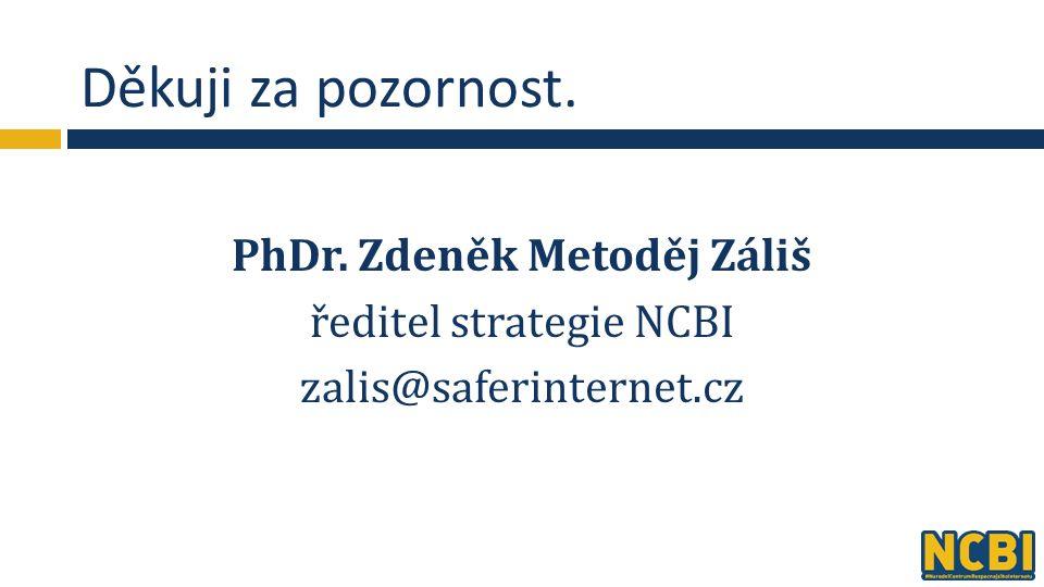 Děkuji za pozornost. PhDr. Zdeněk Metoděj Záliš ředitel strategie NCBI zalis@saferinternet.cz