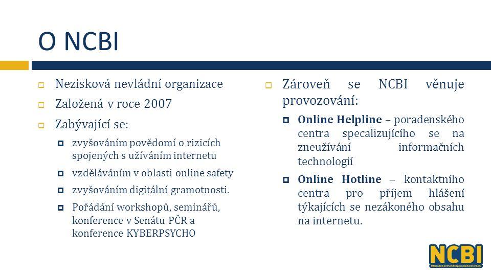 O NCBI  Nezisková nevládní organizace  Založená v roce 2007  Zabývající se:  zvyšováním povědomí o rizicích spojených s užíváním internetu  vzděláváním v oblasti online safety  zvyšováním digitální gramotnosti.
