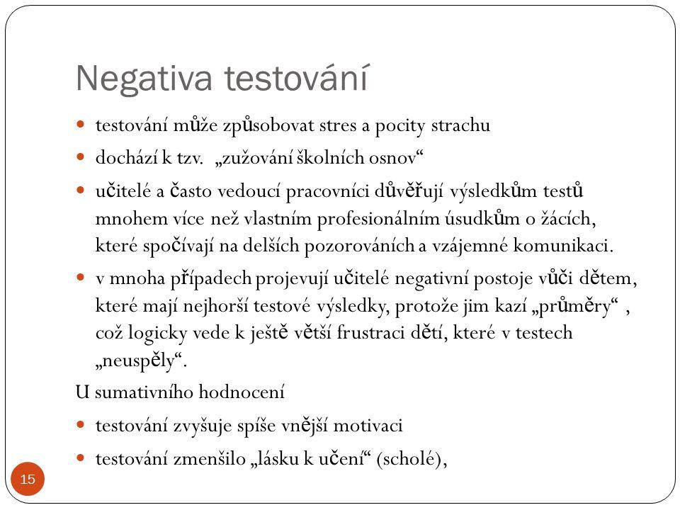 Negativa testování testování m ů že zp ů sobovat stres a pocity strachu dochází k tzv.