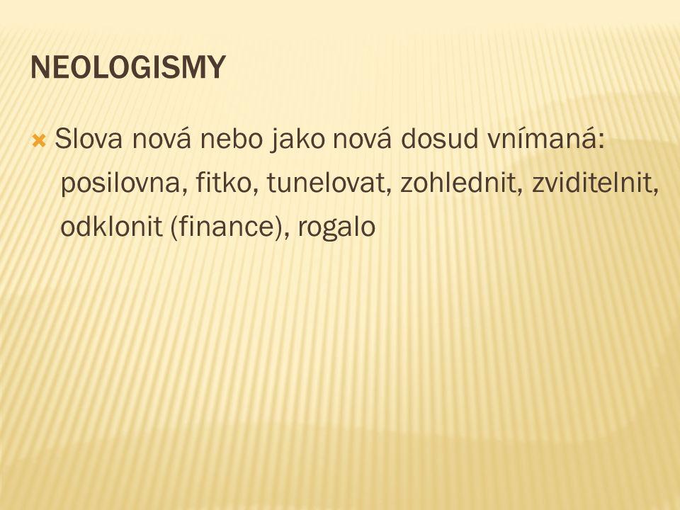 NEOLOGISMY  Slova nová nebo jako nová dosud vnímaná: posilovna, fitko, tunelovat, zohlednit, zviditelnit, odklonit (finance), rogalo