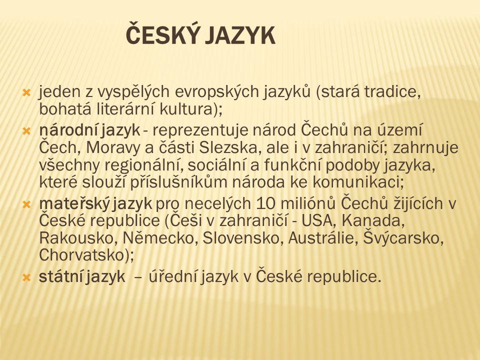 ČESKÝ JAZYK  jeden z vyspělých evropských jazyků (stará tradice, bohatá literární kultura);  národní jazyk - reprezentuje národ Čechů na území Čech, Moravy a části Slezska, ale i v zahraničí; zahrnuje všechny regionální, sociální a funkční podoby jazyka, které slouží příslušníkům národa ke komunikaci;  mateřský jazyk pro necelých 10 miliónů Čechů žijících v České republice (Češi v zahraničí - USA, Kanada, Rakousko, Německo, Slovensko, Austrálie, Švýcarsko, Chorvatsko);  státní jazyk – úřední jazyk v České republice.