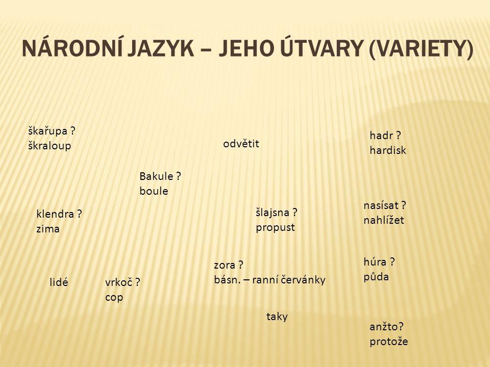 NÁRODNÍ JAZYK – JEHO ÚTVARY (VARIETY) Bakule . boule nasísat .