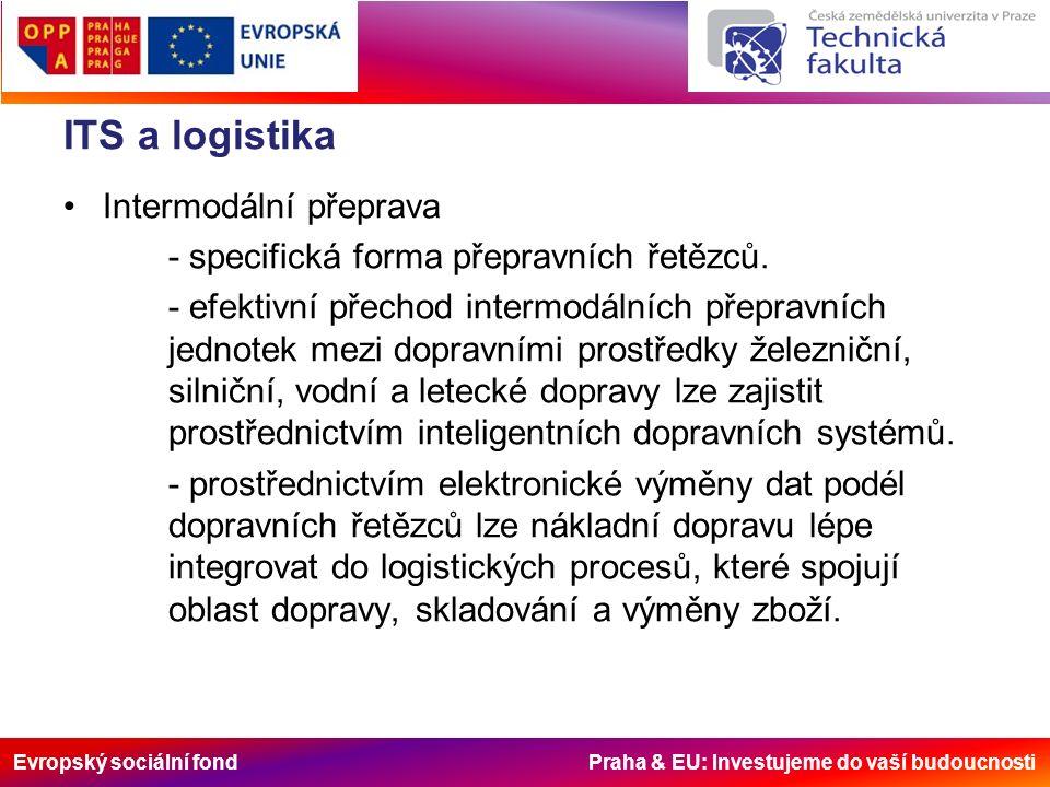 Evropský sociální fond Praha & EU: Investujeme do vaší budoucnosti ITS a logistika Intermodální přeprava - specifická forma přepravních řetězců.