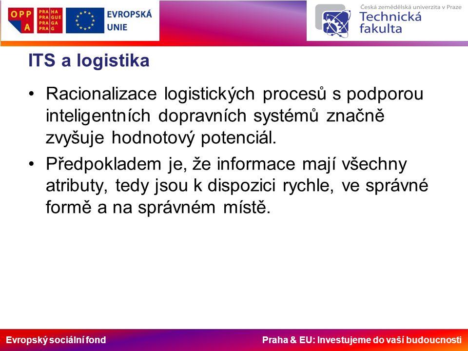 Evropský sociální fond Praha & EU: Investujeme do vaší budoucnosti ITS a logistika Racionalizace logistických procesů s podporou inteligentních dopravních systémů značně zvyšuje hodnotový potenciál.