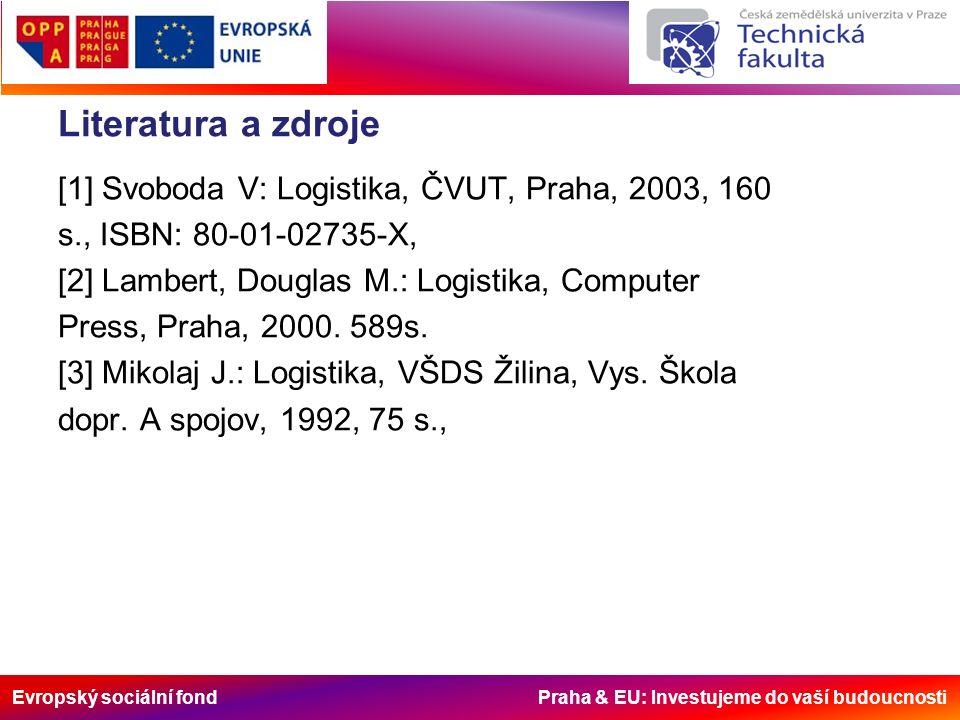Evropský sociální fond Praha & EU: Investujeme do vaší budoucnosti Literatura a zdroje [1] Svoboda V: Logistika, ČVUT, Praha, 2003, 160 s., ISBN: 80-01-02735-X, [2] Lambert, Douglas M.: Logistika, Computer Press, Praha, 2000.