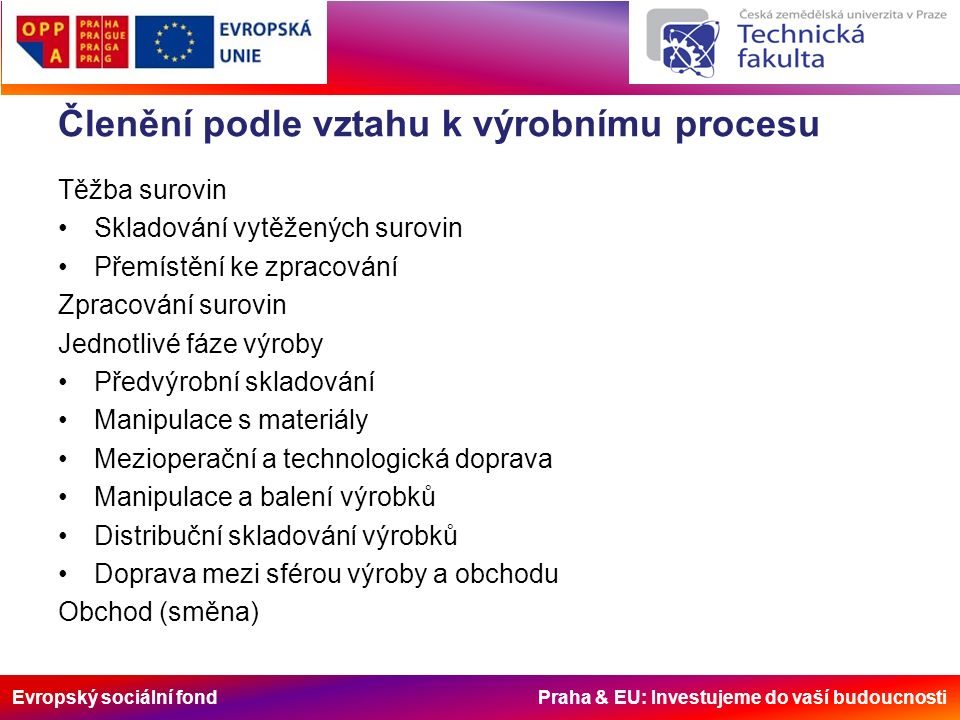 Evropský sociální fond Praha & EU: Investujeme do vaší budoucnosti Členění podle vztahu k výrobnímu procesu Těžba surovin Skladování vytěžených surovin Přemístění ke zpracování Zpracování surovin Jednotlivé fáze výroby Předvýrobní skladování Manipulace s materiály Mezioperační a technologická doprava Manipulace a balení výrobků Distribuční skladování výrobků Doprava mezi sférou výroby a obchodu Obchod (směna)