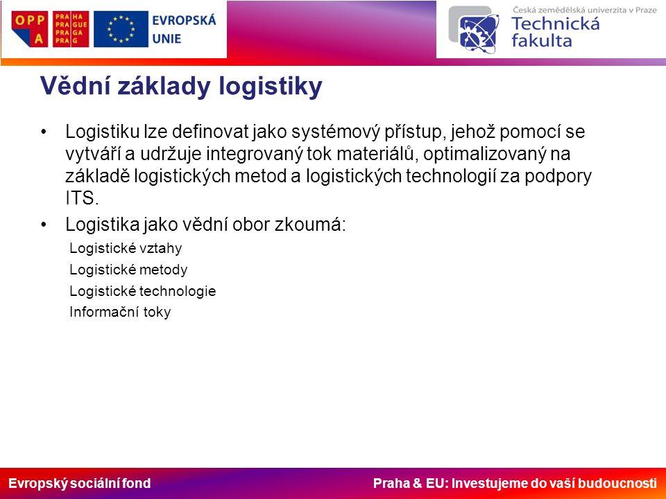 Evropský sociální fond Praha & EU: Investujeme do vaší budoucnosti Vědní základy logistiky Logistiku lze definovat jako systémový přístup, jehož pomocí se vytváří a udržuje integrovaný tok materiálů, optimalizovaný na základě logistických metod a logistických technologií za podpory ITS.