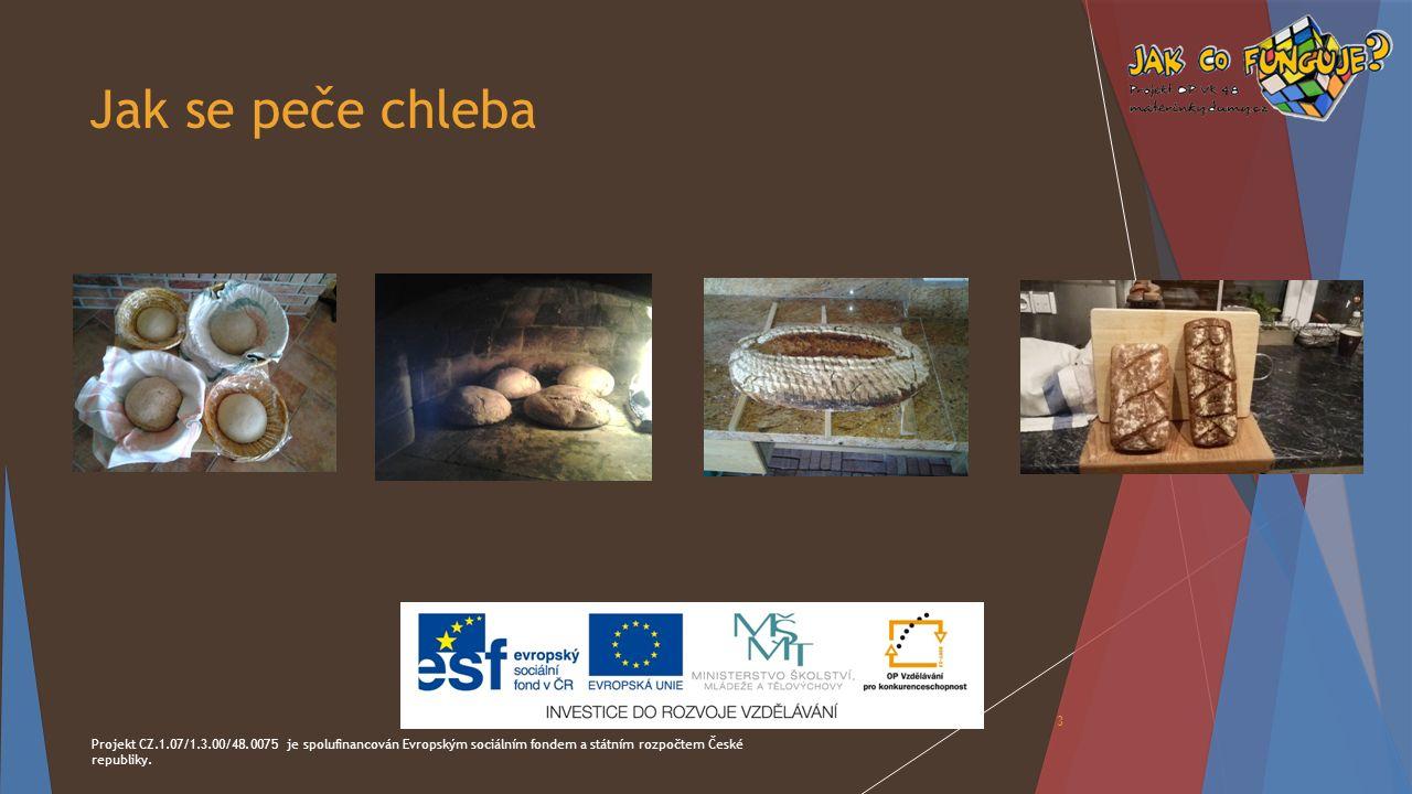 Jak se peče chleba Projekt CZ.1.07/1.3.00/48.0075 je spolufinancován Evropským sociálním fondem a státním rozpočtem České republiky.