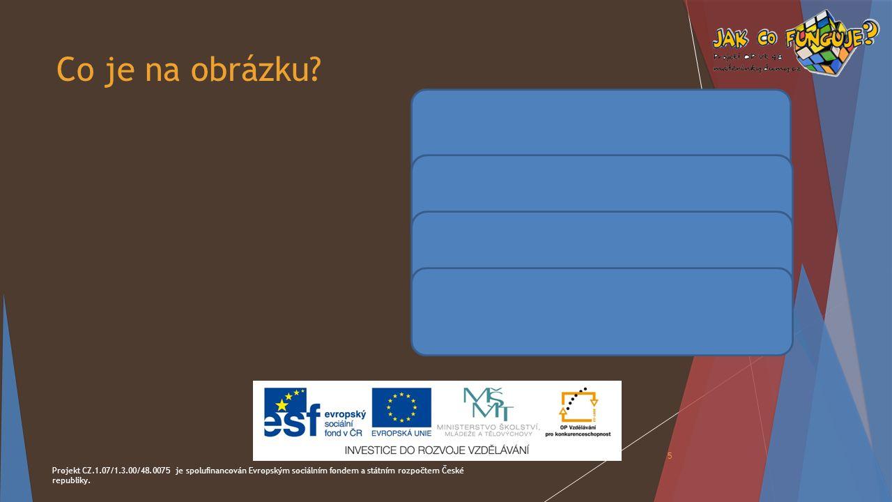 Co je na obrázku? Projekt CZ.1.07/1.3.00/48.0075 je spolufinancován Evropským sociálním fondem a státním rozpočtem České republiky. 5