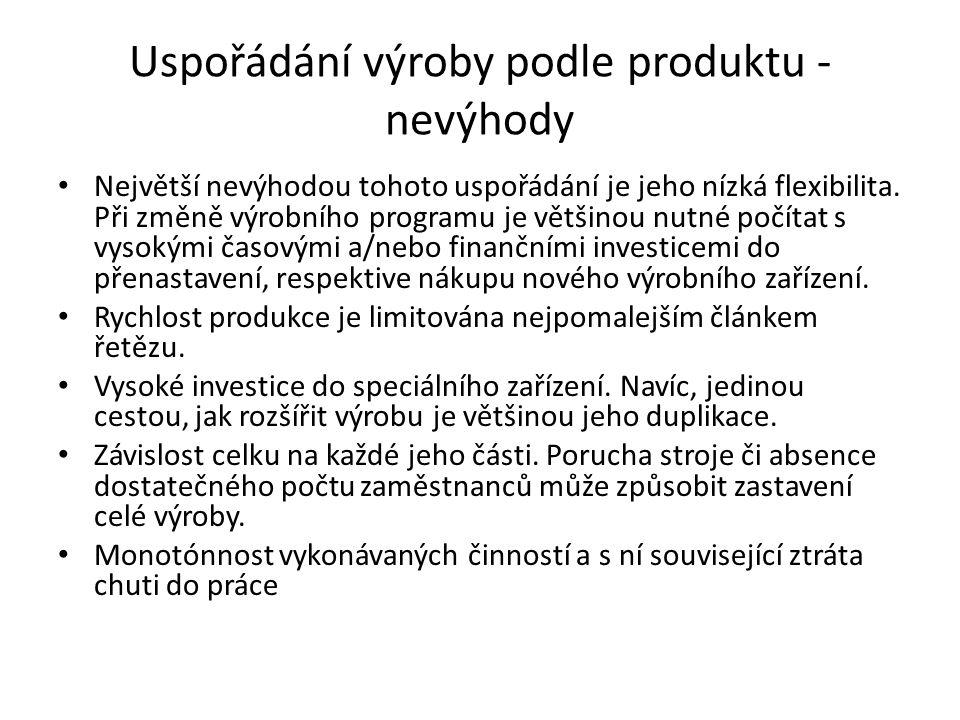 Uspořádání výroby podle produktu - nevýhody Největší nevýhodou tohoto uspořádání je jeho nízká flexibilita.