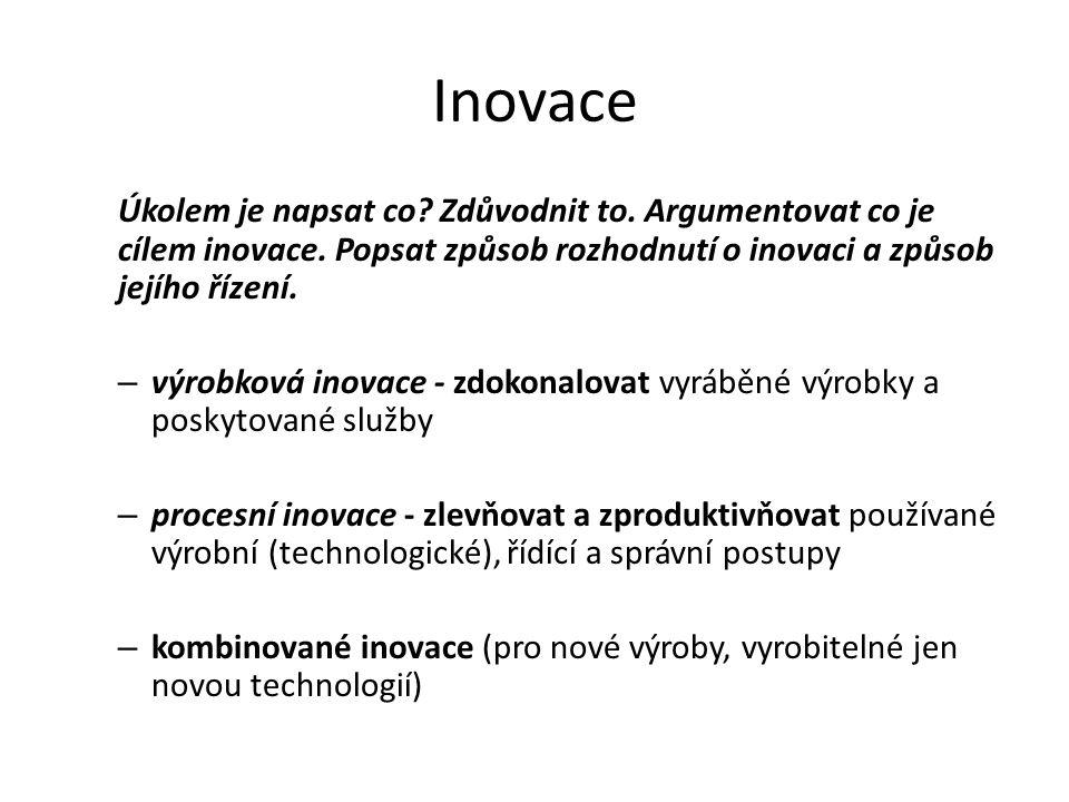 Inovace Úkolem je napsat co? Zdůvodnit to. Argumentovat co je cílem inovace. Popsat způsob rozhodnutí o inovaci a způsob jejího řízení. – výrobková in