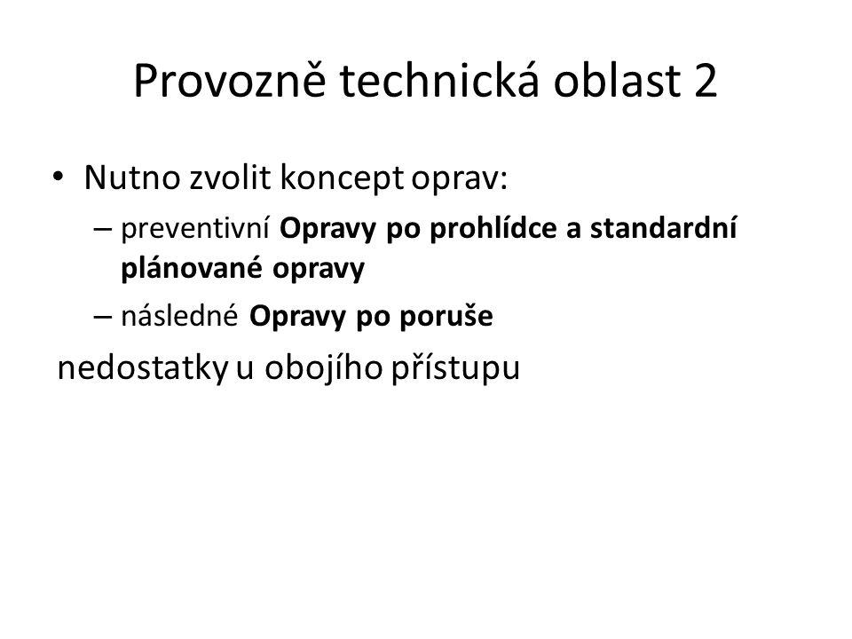 Provozně technická oblast 2 Nutno zvolit koncept oprav: – preventivní Opravy po prohlídce a standardní plánované opravy – následné Opravy po poruše ne