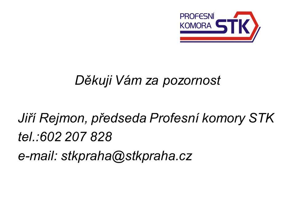 Děkuji Vám za pozornost Jiří Rejmon, předseda Profesní komory STK tel.:602 207 828 e-mail: stkpraha@stkpraha.cz