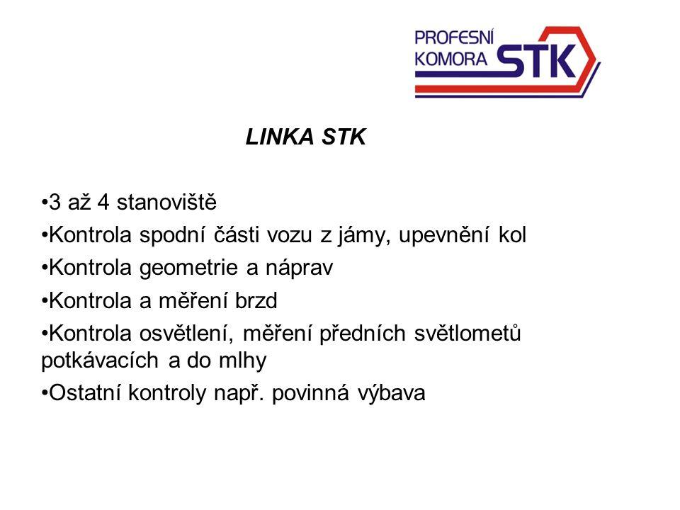 LINKA STK 3 až 4 stanoviště Kontrola spodní části vozu z jámy, upevnění kol Kontrola geometrie a náprav Kontrola a měření brzd Kontrola osvětlení, měření předních světlometů potkávacích a do mlhy Ostatní kontroly např.