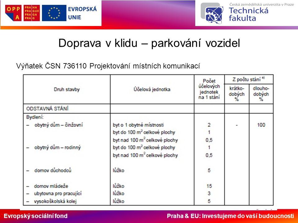 Evropský sociální fond Praha & EU: Investujeme do vaší budoucnosti Doprava v klidu – parkování vozidel Výňatek ČSN 736110 Projektování místních komuni