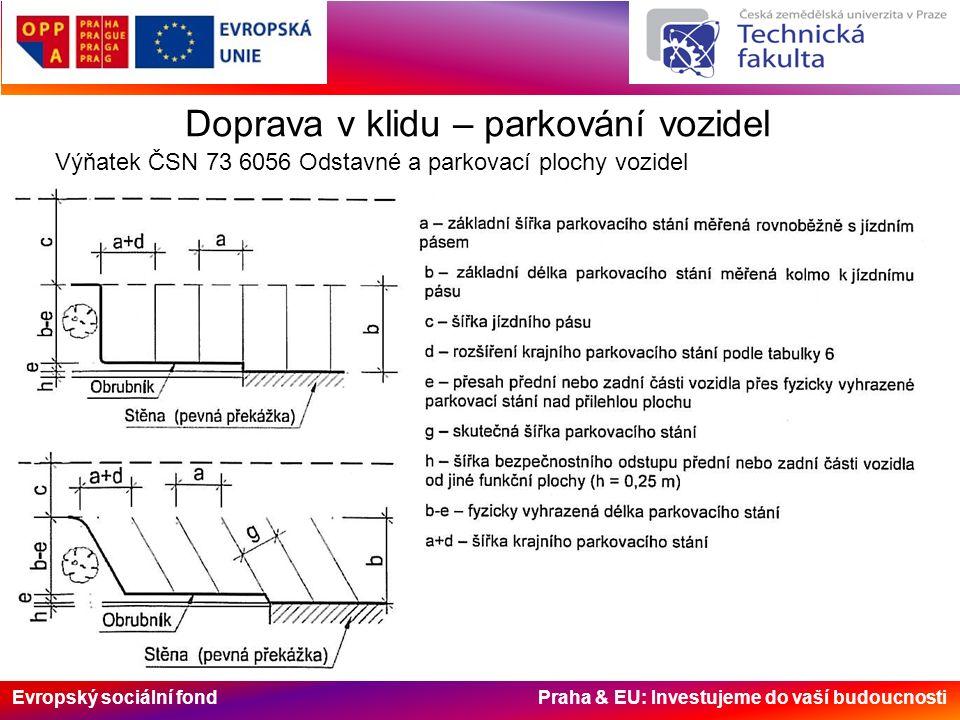 Evropský sociální fond Praha & EU: Investujeme do vaší budoucnosti Doprava v klidu – parkování vozidel Výňatek ČSN 73 6056 Odstavné a parkovací plochy vozidel