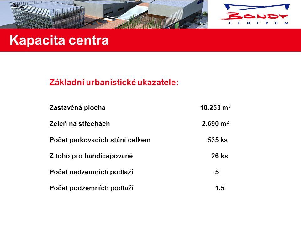 Kapacita centra Základní urbanistické ukazatele: Zastavěná plocha10.253 m 2 Zeleň na střechách 2.690 m 2 Počet parkovacích stání celkem 535 ks Z toho pro handicapované 26 ks Počet nadzemních podlaží 5 Počet podzemních podlaží 1,5