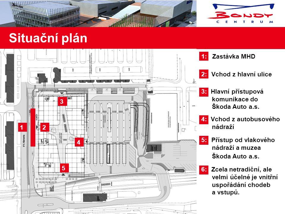 1: Zastávka MHD 2: Vchod z hlavní ulice 3: Hlavní přístupová komunikace do Škoda Auto a.s.