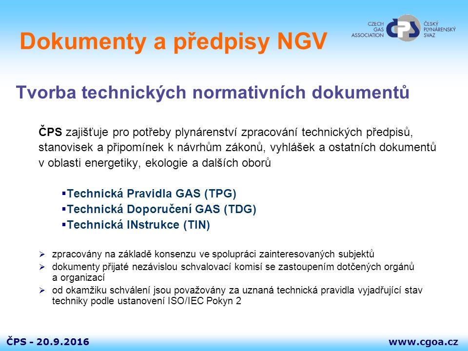 www.cgoa.czČPS - 20.9.2016 Dokumenty a předpisy NGV Tvorba technických normativních dokumentů ČPS zajišťuje pro potřeby plynárenství zpracování techni