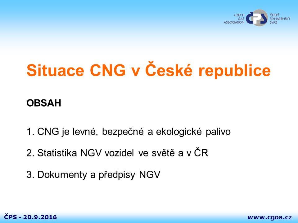 www.cgoa.czČPS - 20.9.2016 CNG je levné, bezpečné a ekologické palivo  v ČR má zemní plyn 95 až 98 % objemových jednotek metanu  Z pohledu požární bezpečnosti je CNG méně rizikovým než benzín či nafta  CNG je lehčí než vzduch – přirozeně odvětrává, snadná mísitelnost se vzduchem  Úzká mez výbušnosti (směs se vzduchem) 4,4 až 15 % objemových jednotek  Nejedovatý METAN