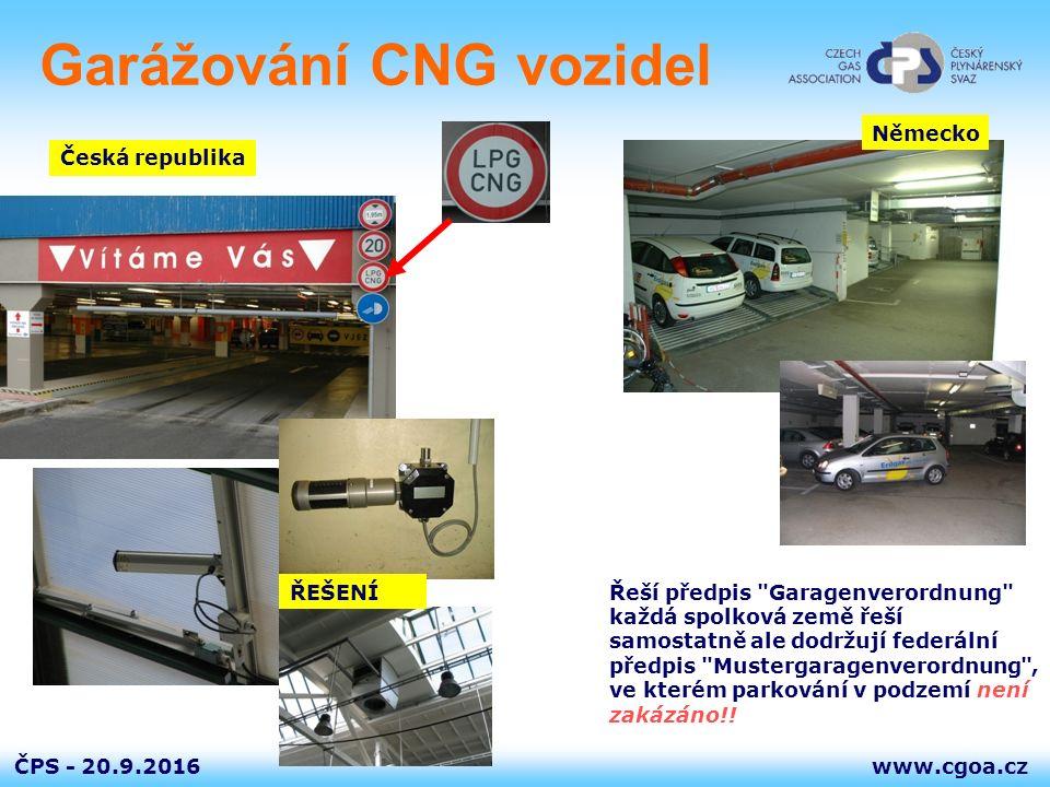www.cgoa.czČPS - 20.9.2016 Garážování CNG vozidel Česká republika Německo Řeší předpis