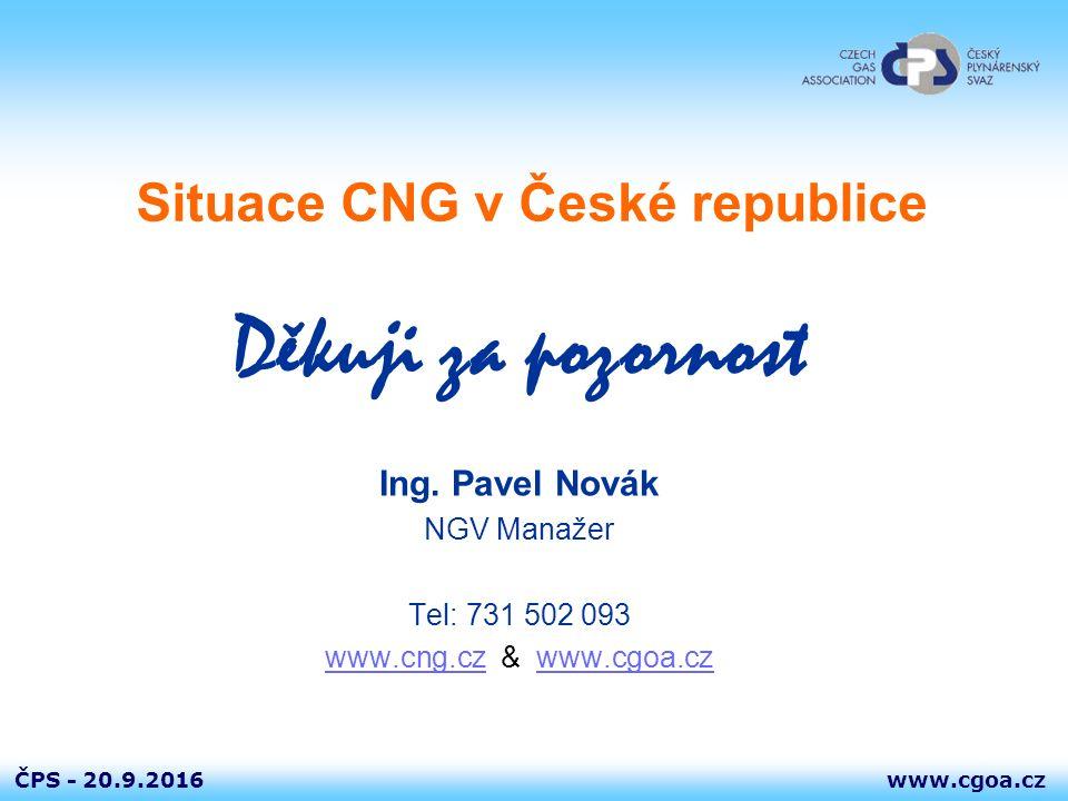 www.cgoa.czČPS - 20.9.2016 Situace CNG v České republice Děkuji za pozornost Ing. Pavel Novák NGV Manažer Tel: 731 502 093 www.cng.czwww.cng.cz & www.