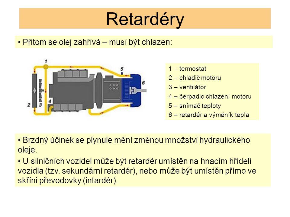Retardéry Přitom se olej zahřívá – musí být chlazen: Brzdný účinek se plynule mění změnou množství hydraulického oleje.