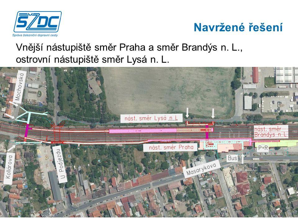 Vnější nástupiště směr Praha a směr Brandýs n.L., ostrovní nástupiště směr Lysá n.