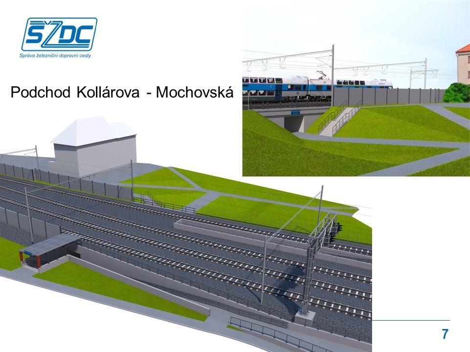 Rekonstrukce žst. Čelákovice Navržené řešení 7 Podchod Kollárova - Mochovská