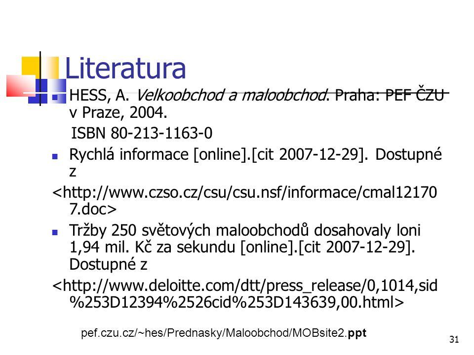 Literatura HESS, A. Velkoobchod a maloobchod. Praha: PEF ČZU v Praze, 2004.