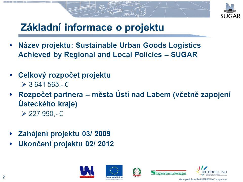 Základní informace o projektu  Název projektu: Sustainable Urban Goods Logistics Achieved by Regional and Local Policies – SUGAR  Celkový rozpočet p