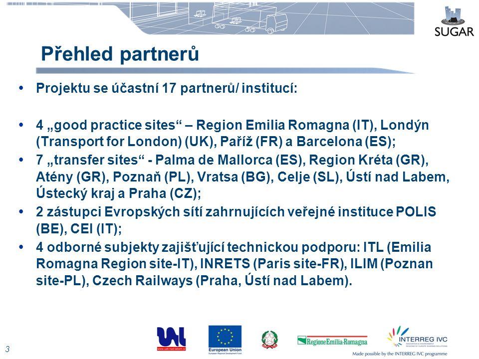 """Přehled partnerů 3  Projektu se účastní 17 partnerů/ institucí:  4 """"good practice sites"""" – Region Emilia Romagna (IT), Londýn (Transport for London)"""