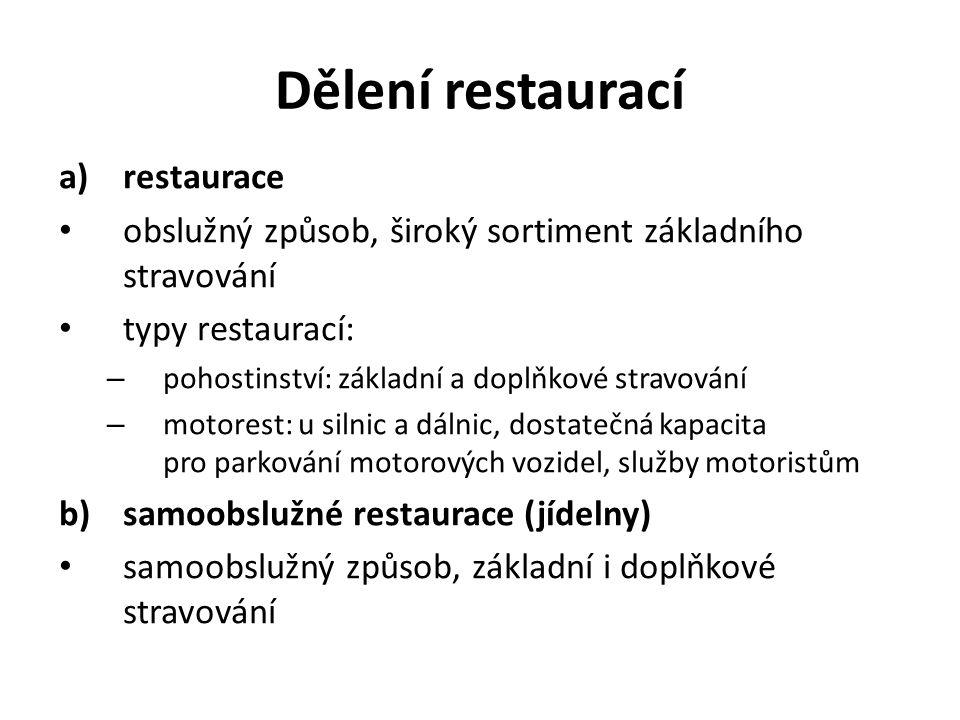 Dělení restaurací a)restaurace obslužný způsob, široký sortiment základního stravování typy restaurací: – pohostinství: základní a doplňkové stravování – motorest: u silnic a dálnic, dostatečná kapacita pro parkování motorových vozidel, služby motoristům b)samoobslužné restaurace (jídelny) samoobslužný způsob, základní i doplňkové stravování