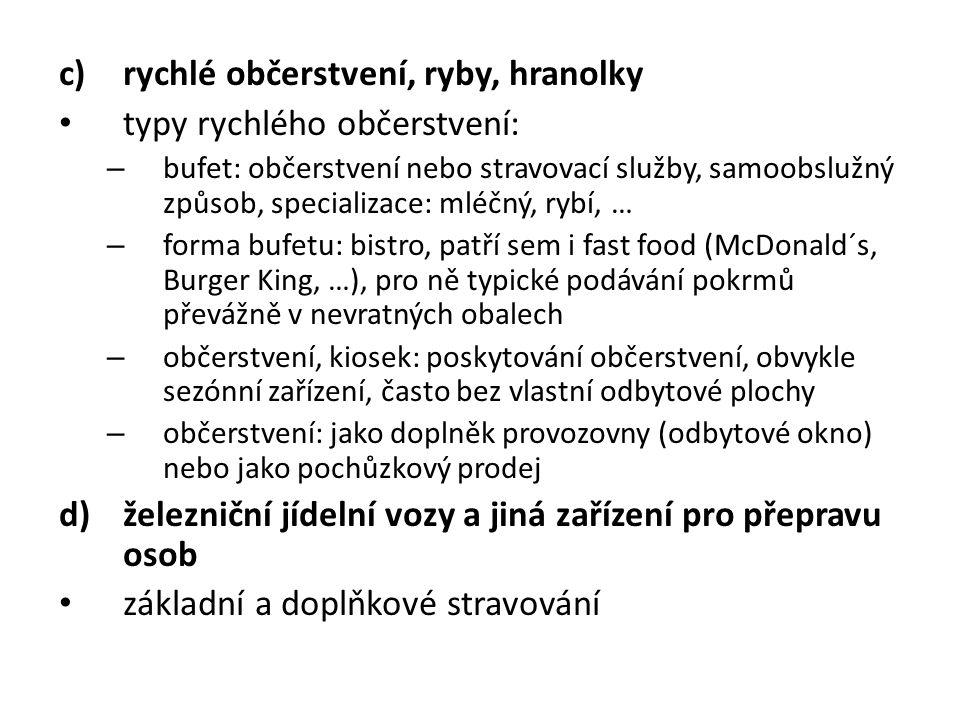 c)rychlé občerstvení, ryby, hranolky typy rychlého občerstvení: – bufet: občerstvení nebo stravovací služby, samoobslužný způsob, specializace: mléčný, rybí, … – forma bufetu: bistro, patří sem i fast food (McDonald´s, Burger King, …), pro ně typické podávání pokrmů převážně v nevratných obalech – občerstvení, kiosek: poskytování občerstvení, obvykle sezónní zařízení, často bez vlastní odbytové plochy – občerstvení: jako doplněk provozovny (odbytové okno) nebo jako pochůzkový prodej d)železniční jídelní vozy a jiná zařízení pro přepravu osob základní a doplňkové stravování