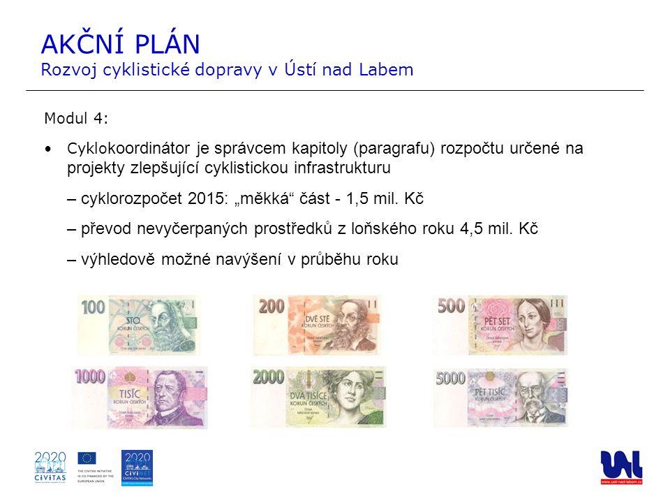 AKČNÍ PLÁN Rozvoj cyklistické dopravy v Ústí nad Labem Modul 4: Cyklo koordinátor je správcem kapitoly (paragrafu) rozpočtu určené na projekty zlepšuj