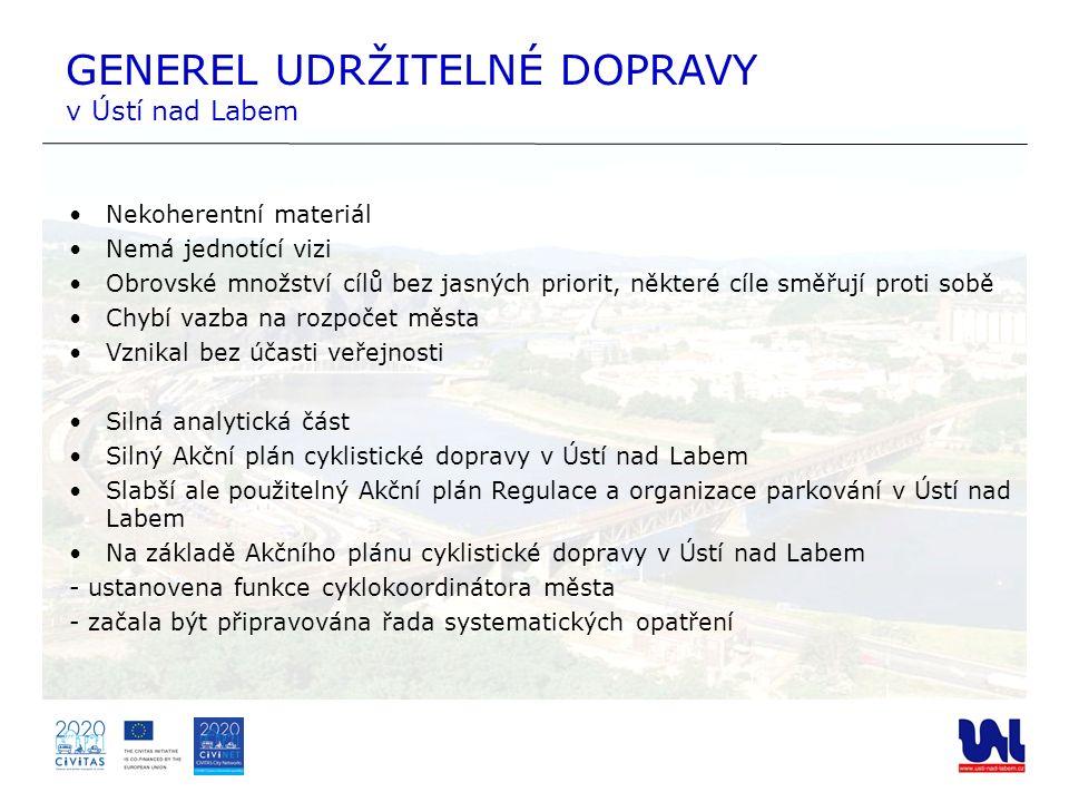 GENEREL UDRŽITELNÉ DOPRAVY v Ústí nad Labem Nekoherentní materiál Nemá jednotící vizi Obrovské množství cílů bez jasných priorit, některé cíle směřují