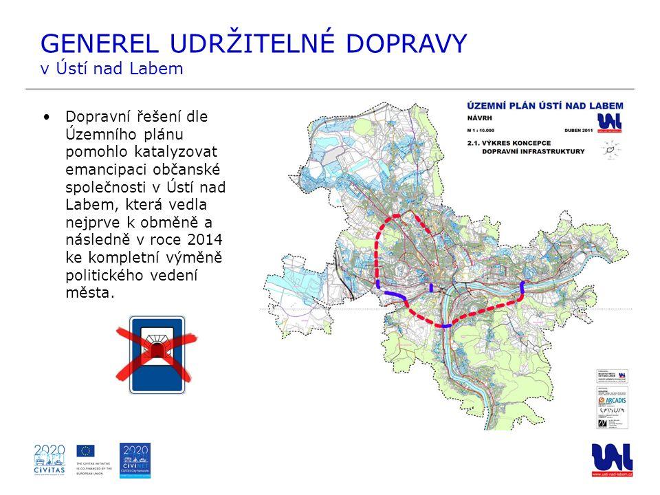 Dopravní řešení dle Územního plánu pomohlo katalyzovat emancipaci občanské společnosti v Ústí nad Labem, která vedla nejprve k obměně a následně v roc