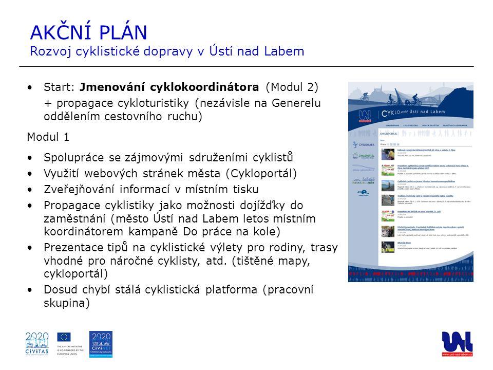 AKČNÍ PLÁN Rozvoj cyklistické dopravy v Ústí nad Labem Start: Jmenování cyklokoordinátora (Modul 2) + propagace cykloturistiky (nezávisle na Generelu