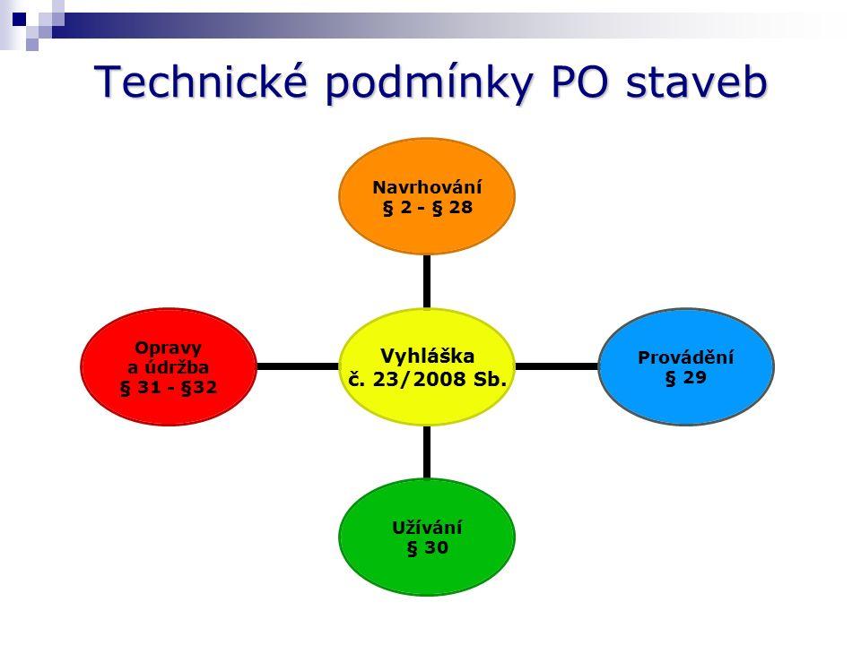 Technické podmínky PO staveb Vyhláška č.23/2008 Sb.