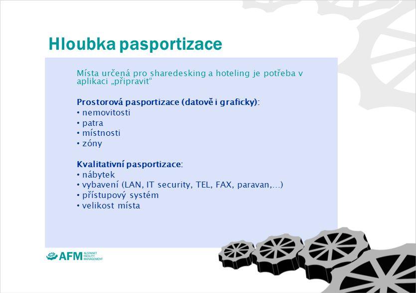 """Hloubka pasportizace Místa určená pro sharedesking a hoteling je potřeba v aplikaci """"připravit Prostorová pasportizace (datově i graficky): nemovitosti patra místnosti zóny Kvalitativní pasportizace: nábytek vybavení (LAN, IT security, TEL, FAX, paravan,…) přístupový systém velikost místa"""