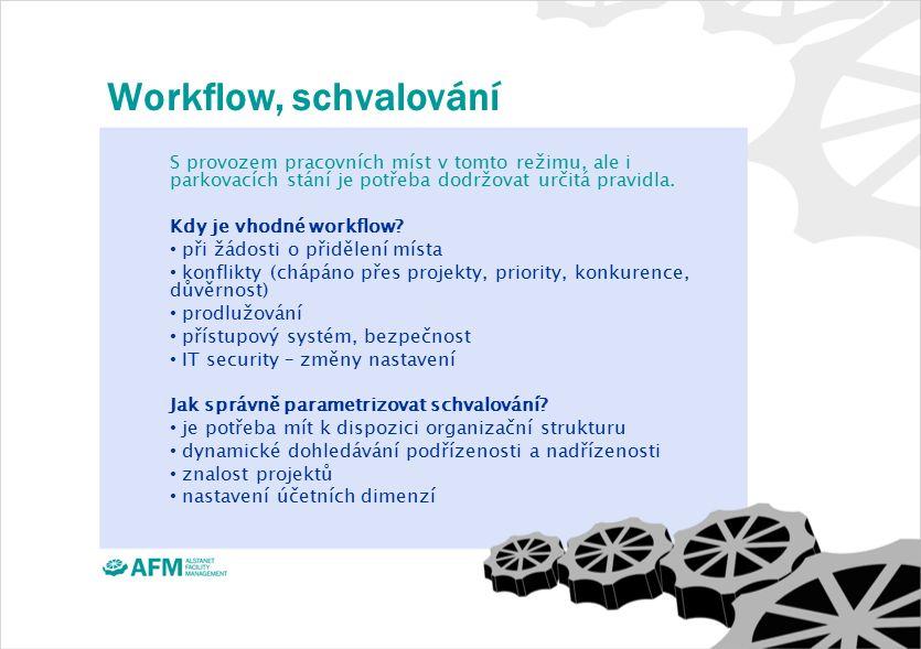 Workflow, schvalování S provozem pracovních míst v tomto režimu, ale i parkovacích stání je potřeba dodržovat určitá pravidla.