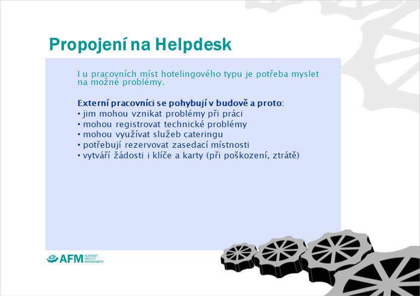Propojení na Helpdesk I u pracovních míst hotelingového typu je potřeba myslet na možné problémy.