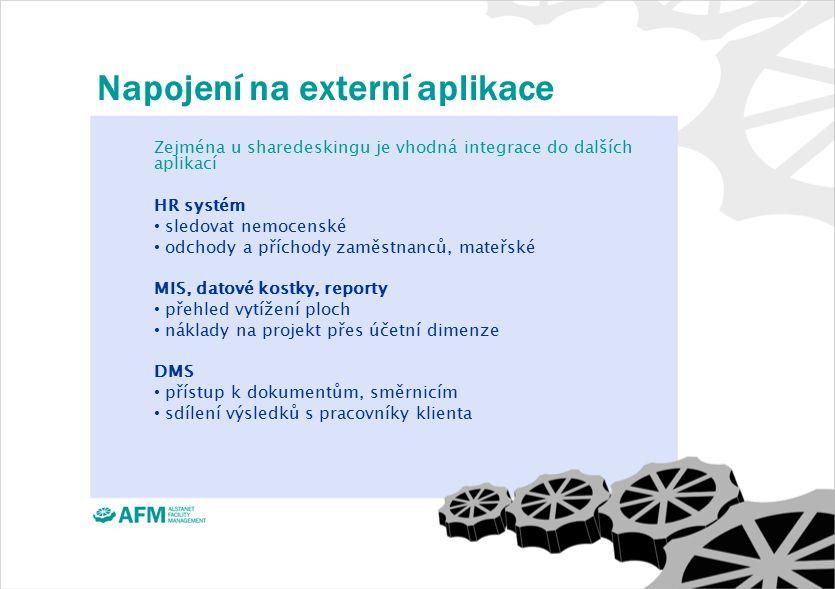 Napojení na externí aplikace Zejména u sharedeskingu je vhodná integrace do dalších aplikací HR systém sledovat nemocenské odchody a příchody zaměstnanců, mateřské MIS, datové kostky, reporty přehled vytížení ploch náklady na projekt přes účetní dimenze DMS přístup k dokumentům, směrnicím sdílení výsledků s pracovníky klienta