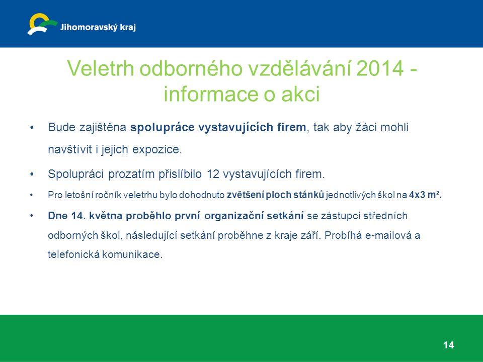 Veletrh odborného vzdělávání 2014 - informace o akci Bude zajištěna spolupráce vystavujících firem, tak aby žáci mohli navštívit i jejich expozice.