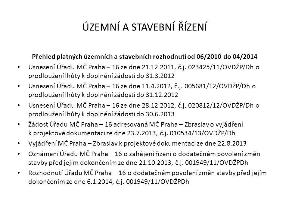 ÚZEMNÍ A STAVEBNÍ ŘÍZENÍ Přehled platných územních a stavebních rozhodnutí od 06/2010 do 04/2014 Usnesení Úřadu MČ Praha – 16 ze dne 21.12.2011, č.j.
