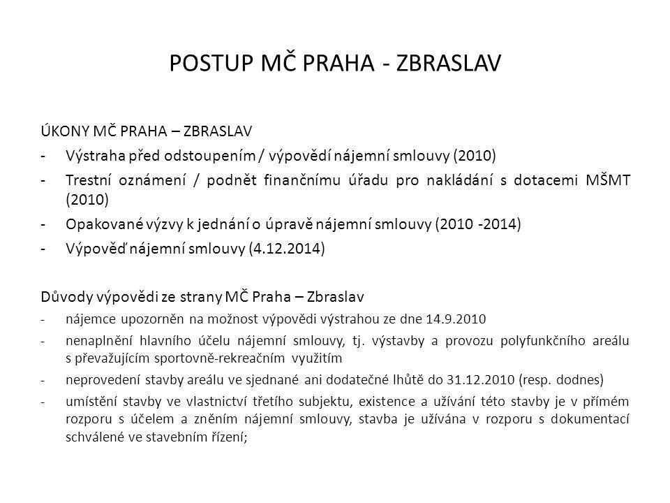 POSTUP MČ PRAHA - ZBRASLAV ÚKONY MČ PRAHA – ZBRASLAV -Výstraha před odstoupením / výpovědí nájemní smlouvy (2010) -Trestní oznámení / podnět finančnímu úřadu pro nakládání s dotacemi MŠMT (2010) -Opakované výzvy k jednání o úpravě nájemní smlouvy (2010 -2014) -Výpověď nájemní smlouvy (4.12.2014) Důvody výpovědi ze strany MČ Praha – Zbraslav -nájemce upozorněn na možnost výpovědi výstrahou ze dne 14.9.2010 -nenaplnění hlavního účelu nájemní smlouvy, tj.