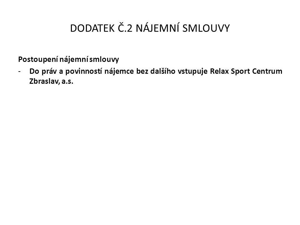 DODATEK Č.2 NÁJEMNÍ SMLOUVY Postoupení nájemní smlouvy -Do práv a povinností nájemce bez dalšího vstupuje Relax Sport Centrum Zbraslav, a.s.