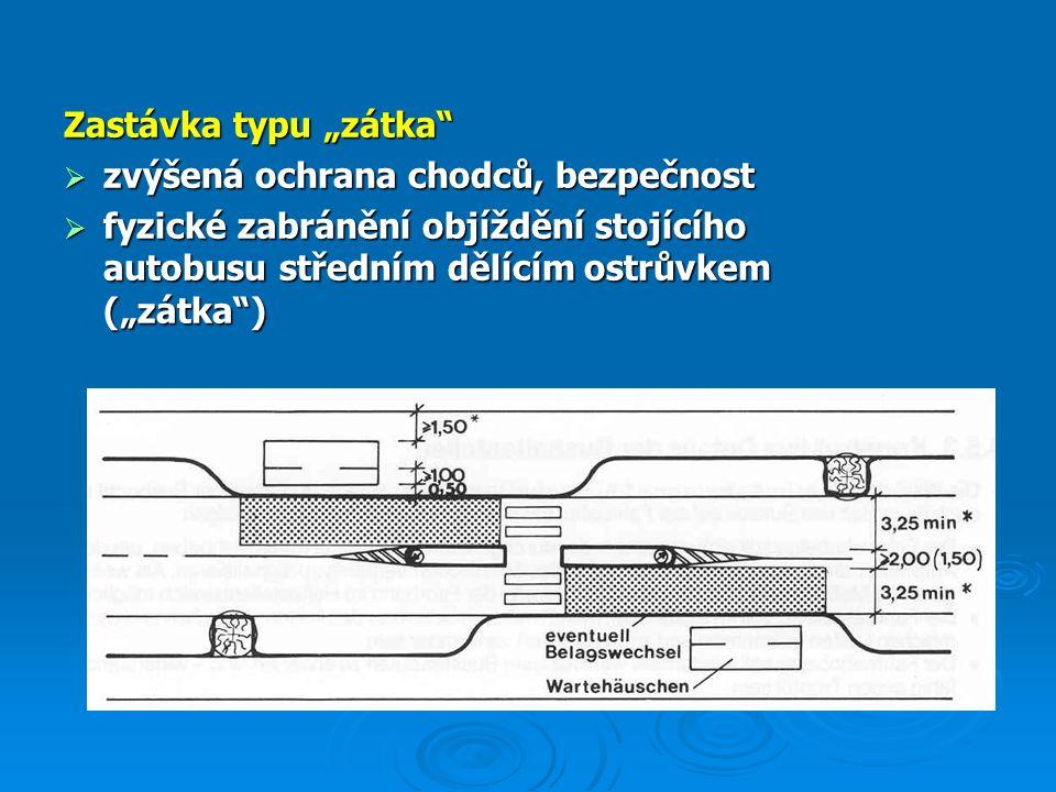 """Zastávka typu """"zátka  zvýšená ochrana chodců, bezpečnost  fyzické zabránění objíždění stojícího autobusu středním dělícím ostrůvkem (""""zátka )"""
